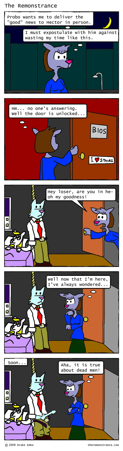 Ms. Terrorbird Leaves Hector Hanging - The Remonstrance comic for 2009-03-16. Word of the day: expostulate