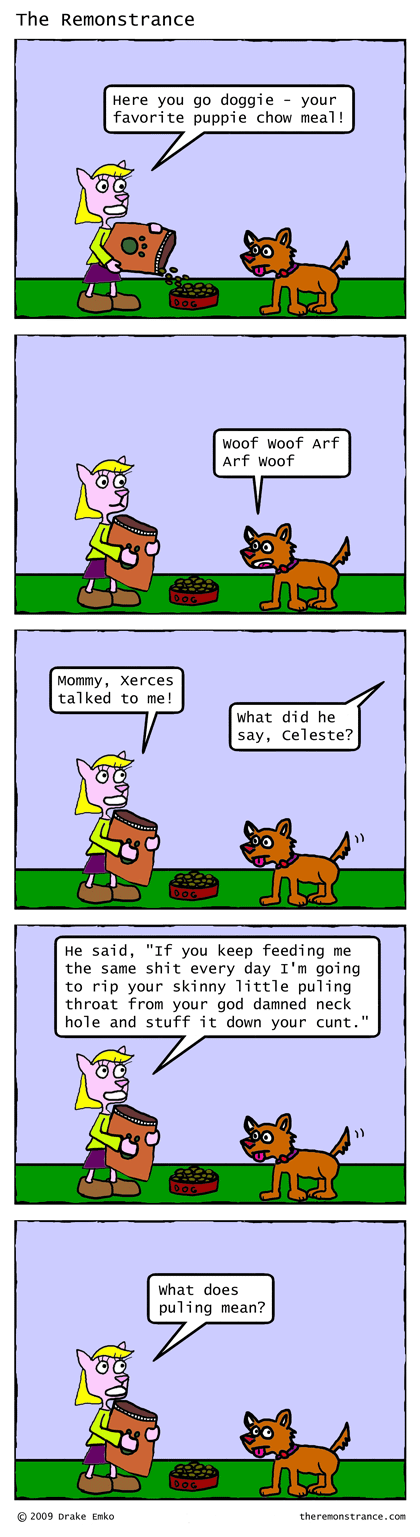 Celeste Feeds the Dog - The Remonstrance comic for 2009-06-30. Word of the day: puling