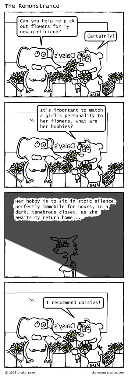 The Flower Shop - The Remonstrance comic for 2006-11-20. Word of the day: tenebrous