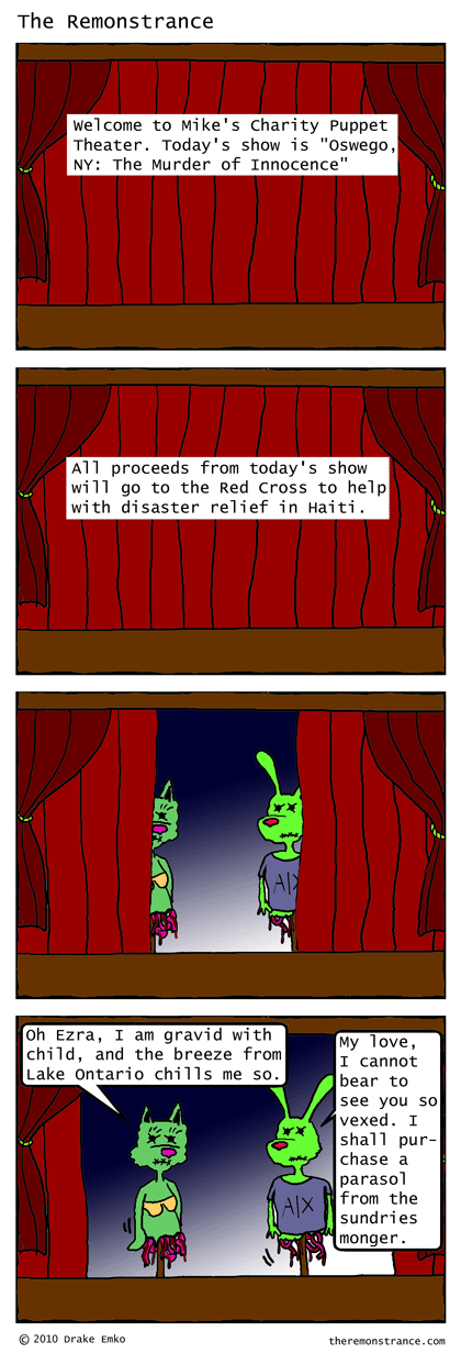 Mike's Puppet Theater - The Remonstrance comic for 2010-01-25. Word of the day: gravid