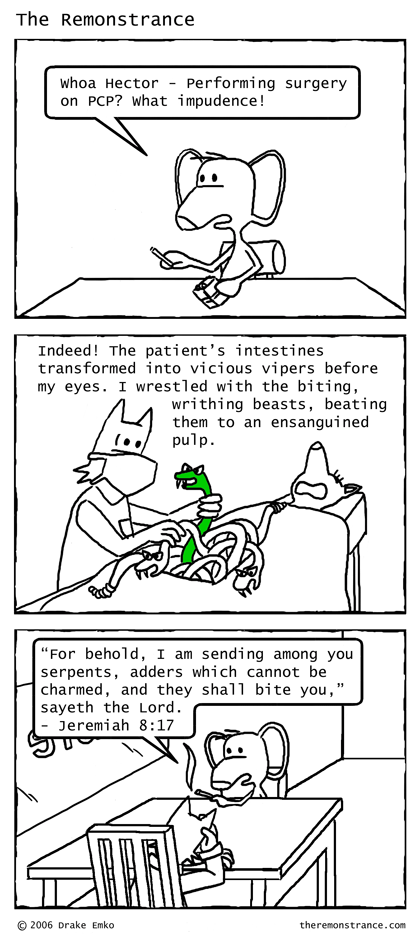 Ensanguined Serpents - The Remonstrance comic for 2006-09-11. Word of the day: ensanguined