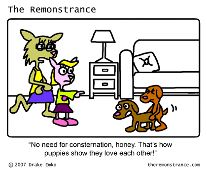 Celeste Learns the Facts of Life - The Remonstrance comic for 2007-06-11. Word of the day: consternation