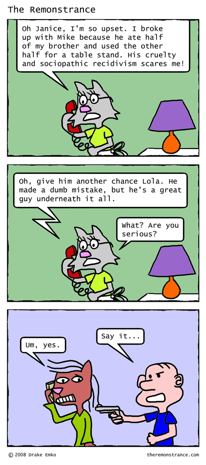 Lola Has Boy Troubles - The Remonstrance comic for 2008-02-11. Word of the day: recidivism