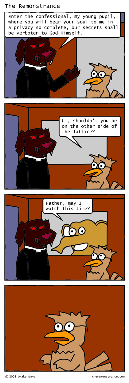 The Confessional - The Remonstrance comic for 2008-04-23. Word of the day: verboten