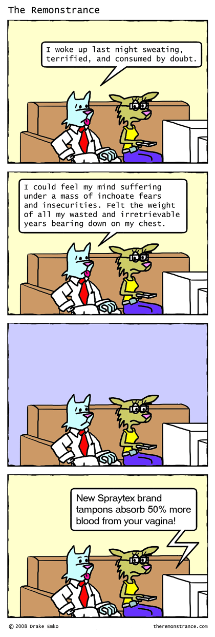Plagued by Self Doubt - The Remonstrance comic for 2008-09-08. Word of the day: inchoate