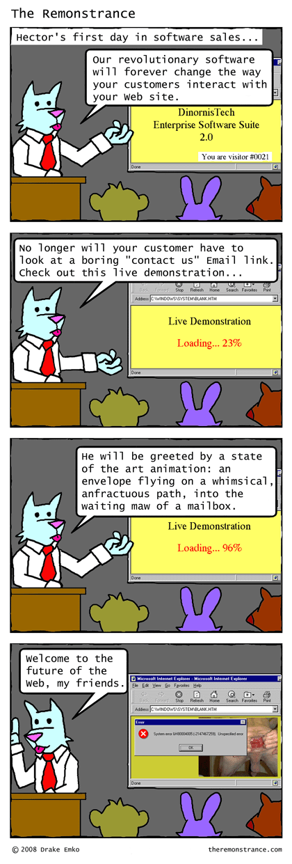 Hector's First Sales Pitch - The Remonstrance comic for 2008-12-09. Word of the day: anfractuous